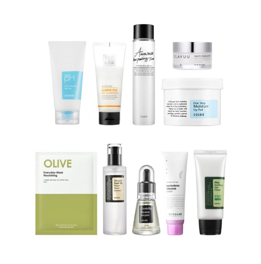 10-stegs hudpleiesett for tørr hud