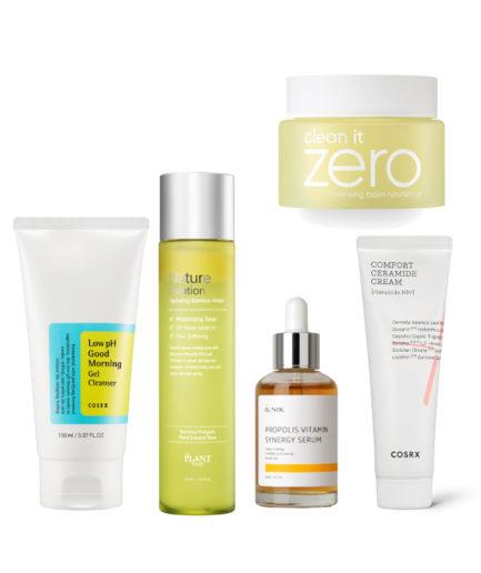 5 steg hudpleiesett for tørr hud
